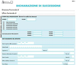Documenti necessari per la   dichiarazione di successione